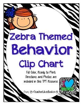 FREEBIE - Zebra Themed Behavior Clip Chart