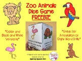 FREEBIE Zoo Animals Dice Game for Articulation Drills or Sight Word Drills