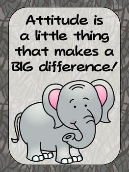 FREEBIE - Zoo Animals Positive Quote Posters {Jungle Safari Theme}