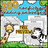 Zoo Animals - Non-Fiction, Leveled Passages + graphic organizers - FREE PREVIEW!