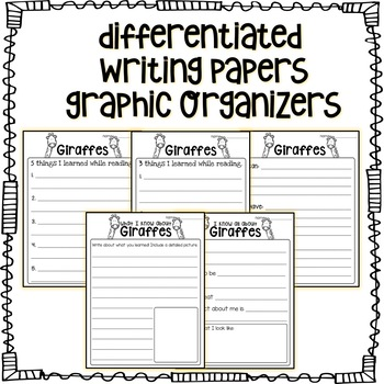 Zoo Animals- Non-Fiction, Leveled Reading Passages + graphic organizers PREVIEW!