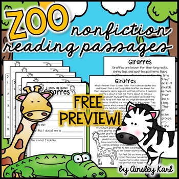 FREEBIE! Zoo Animals - Non-Fiction, Leveled Passages + gra