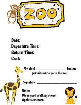 FREEBIE Zoo Field Trip Form