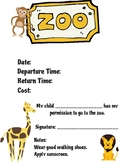 FREEBIE Zoo Field Trip Form