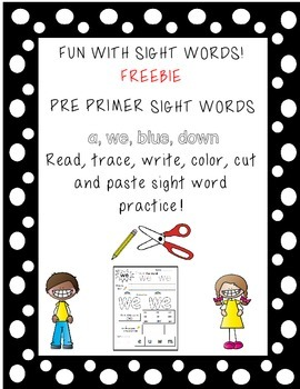 Word Work FREEBIE Pre primer Dolch Words practice