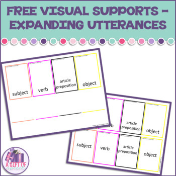 FREE for expanding utterances creating sentences and MLU speech therapy FREEBIE