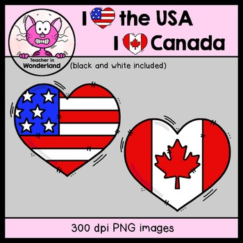 freebie heart flag usa and canada clipart by teacher in wonderland