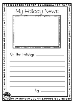 FREEBIE holiday recount writing template for Prep KINDY Grade 1 | TpT