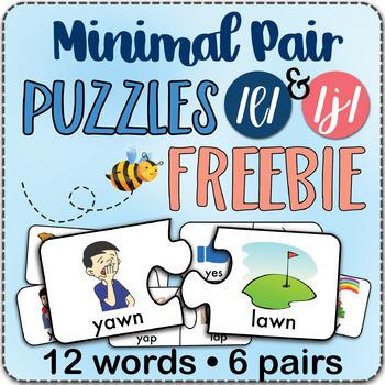 FREEBIE /l/ & /j/ Minimal Pairs Jigsaw Puzzles - Speech Therapy Activity Game