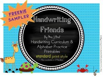 FREEBIE sample Handwriting printable A-E