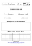 FREEBIE sample of 100 sight words: trace, colour, draw, wr
