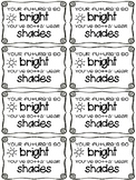 FREEBIE sunglasses gift tags for end of year student gift