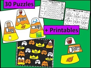 Halloween - Candy Corn Fun - CVC Puzzles and Printables (initial middle end)