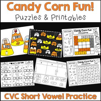 Halloween - Candy Corn Fun - CVC Puzzles and Printables (i