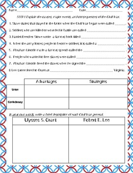 FREEBIECivil War Study Guide and Writing Activity