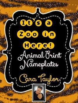 FREEBIE~Glitter Animal Print Nameplates / Nametags