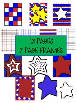 FREEBIE~RED*WHITE*BLUE American PAGE Decor.  Frames and Pages