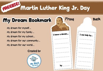 FREEBIE! Martin Luther King Activities (My Dream bookmark) Printable
