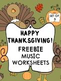 FREEBIE_5 Thanksgiving Music Worksheets