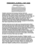 FREEDOM'S JOURNAL (1827-1829) Article with Summary Assignment