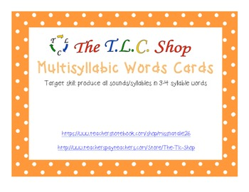 FREE! Multisyllable Word Cards