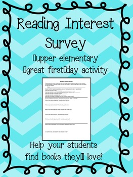 FREE:Reading: Interest Survey (Upper Elem/Middle)