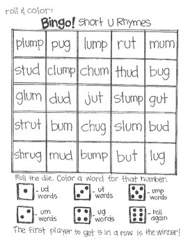 ***FREE***Roll and Color BINGO: Short and Long Vowel Rhymes SAMPLE