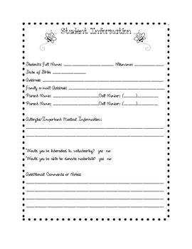 **FREE**Student Information Page