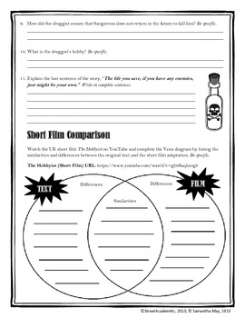{FREE}The Hobbyist {Short Story Worksheet}