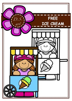 FREE_Ice cream Digital Clipart (color and black&white)