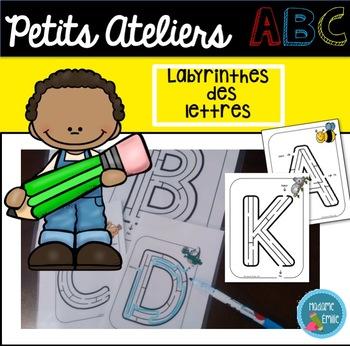 FRENCH ABC Mazes Mats/ Atelier motricité fine (lettres labyrinthes)