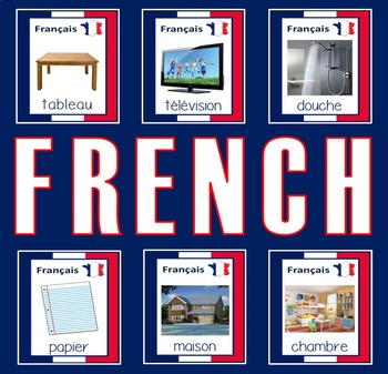 FRENCH AND ENGLISH FLASHCARDS LANGUAGE RESOURCES EDUCATION DISPLAY