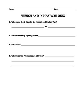 FRENCH AND INDIAN WAR: STUDY GUIDE, QUIZ, ANSWER KEY (GRADES 5 - 8)