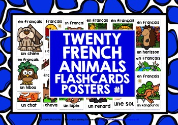 FRENCH ANIMALS (1) - 20 POSTERS / FLASHCARDS