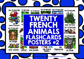 FRENCH FOR CHILDREN - 20 ANIMALS POSTERS / FLASHCARDS (2)