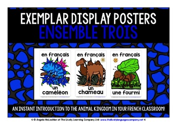 ELEMENTARY FRENCH ANIMALS 60 FLASHCARDS POSTERS
