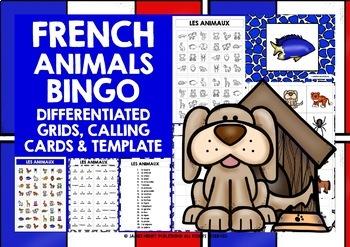 ELEMENTARY FRENCH ANIMALS BINGO