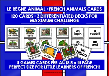 ELEMENTARY FRENCH ANIMALS GAME CARDS