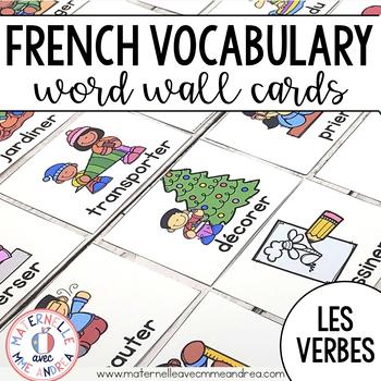FRENCH Actions & Verbs Vocabulary Cards (cartes de vocabulaire - les verbes)