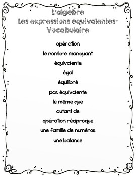 FRENCH Algebra Unit Plan - Grade 2