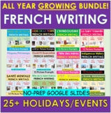 FRENCH All Year HOLIDAY Picture Writing Prompts BUNDLE   Distance Learning