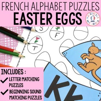 FRENCH Alphabet Easter Literacy Centre - Lettres et sons initiaux Pâques