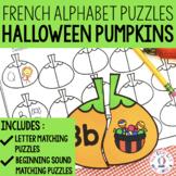 FRENCH Alphabet Halloween Pumpkin Literacy Centre - Lettres et sons initiaux