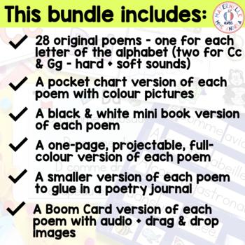 FRENCH Alphabet Poems (poèmes pour les lettres d'alphabet)