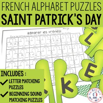 FRENCH Alphabet Saint Patrick's Day Literacy Centre - Lettres et sons initiaux