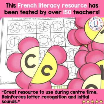 FRENCH Alphabet Spring Flowers Literacy Centre - Lettres et sons initiaux
