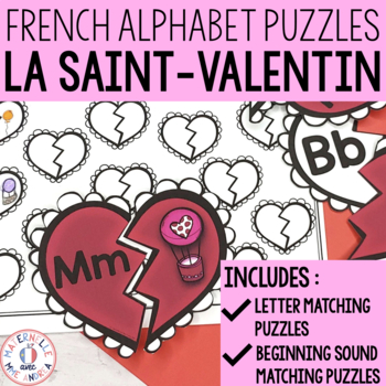 FRENCH Alphabet Valentine's Day Literacy Centre - Lettres et sons initiaux