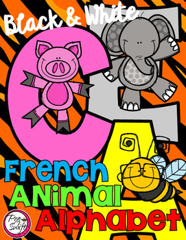 FRENCH Animal Alphabet {Black & White Printables}