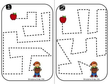 FRENCH Apple Tracing Mats/ Atelier motricité fine (traçage du verger)