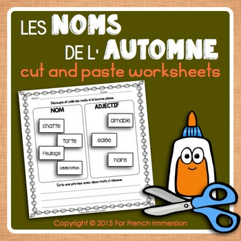 Automne FRENCH Autumn Nouns Cut and Paste Worksheets